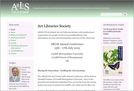 Homepage of the website of the Arts Library Service - ARLIS