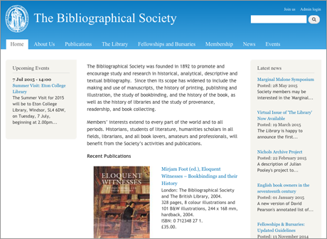 Home page of the website of the Bibliographical Society