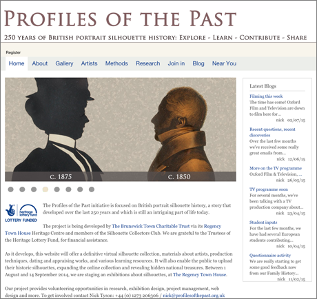 Profiles of the Past website home page