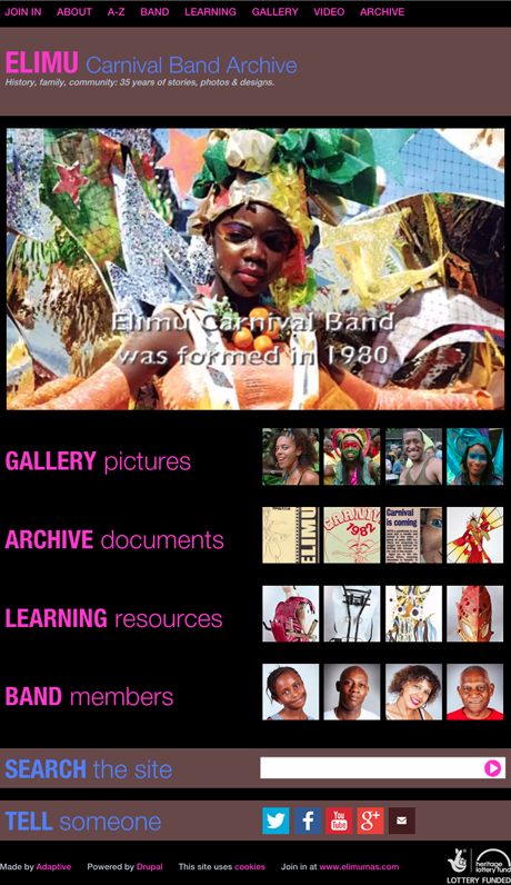Elimu Carnival Band Archive website home page
