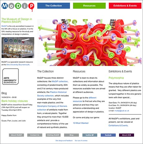 Image of MoDiP website home page