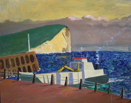 Painting of ship entering Newhaven harbour with cliffs in the background