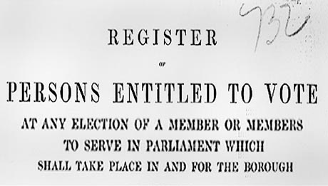 Front page of Register of Voters