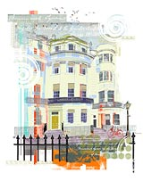 Screen print of The Regency Town House, embellished with architectural motifs.
